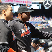 NEW YORK, NEW YORK - APRIL 13: Giancarlo Stanton, Miami Marlins, (left), with hitting coach Barry Bonds during the Miami Marlins Vs New York Mets MLB regular season ball game at Citi Field on April 13, 2016 in New York City. (Photo by Tim Clayton/Corbis via Getty Images)