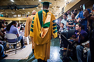 Transitional President Dr. James Lyons enters the 92nd and final Commencement Exercises on Saturday, April 28, 2018, in the Julius and Mary Jenkins Center at Concordia College Alabama in Selma, Ala. LCMS Communications/Erik M. Lunsford