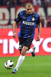 07.10.2012, Giuseppe Meazza Stadion, Mailand, ITA, Serie A, AC Mailand vs Inter Mailand, 7. Runde, im Bild 07.10.2012, Giuseppe Meazza Stadion, Mailand, ITA, Serie A, AC Mailand vs Inter Mailand, 7. Runde, im Bild Walter Samuel Inter autore del Gol // during the Italian Serie A 7th round match between AC Milan and Inter Milan at the Giuseppe Meazza Stadium, Milan, Italy on 2012/10/07. EXPA Pictures © 2012, PhotoCredit: EXPA/ Insidefoto/ Andrea Staccioli..***** ATTENTION - for AUT, SLO, CRO, SRB, SUI and SWE only *****