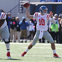 Lauren Wood | Buy at photos.djournal.com<br /> Ole Miss quarterback Chad Kelly throws downfield during Saturday's game at Memphis.
