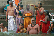 India, Pilgrims cleansing themselves in the Ganges River