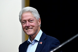 Former President Bill Clinton is welcomed on stage before delivering a speech to young voters in the Philadelphia, Pennsylvania suburbs during a Stronger Together campaign rally in support of his wife Hillary Clinton, the Democratic presidential nominee in the race for the 2016 U.S. Presidential Elections.