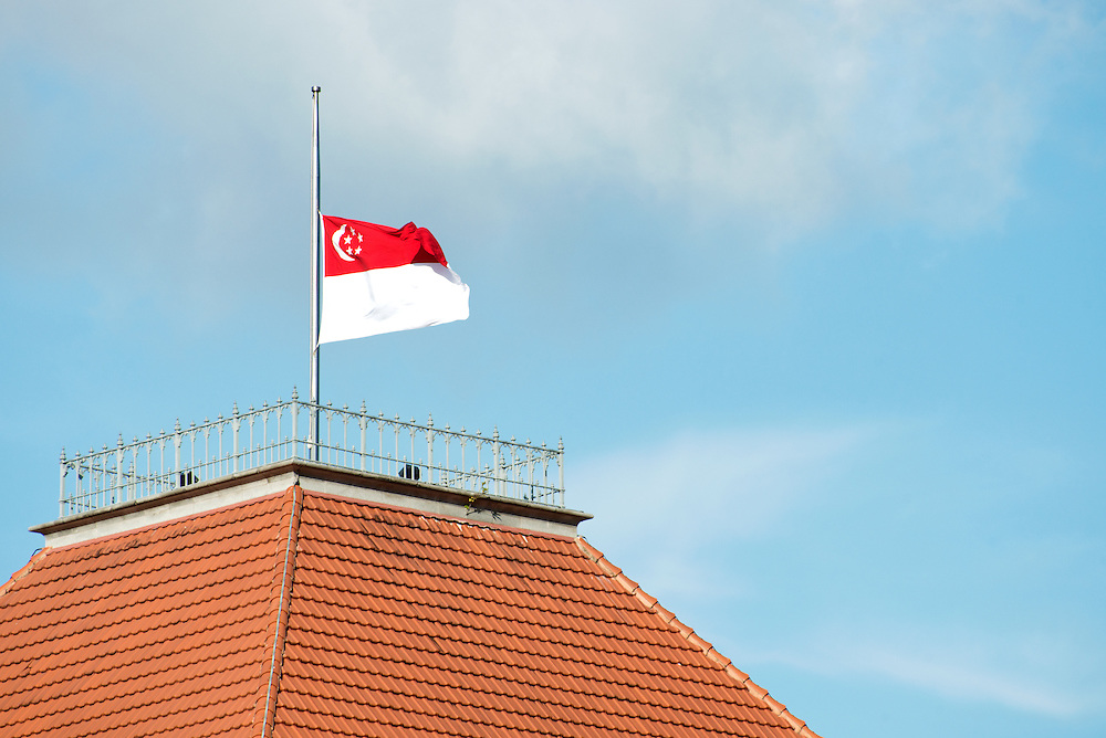 Singapore National Flag at half mast in March 2015 to mourn the death of Singapore First Prime Minister Mr Lee Kuan Yew