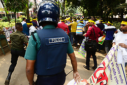 November 3, 2018 - Dhaka, Bangladesh - A group of job seekers tries to bring out a procession from the premises of Public Library during government job seekers attempted to hold a rally to demanding extension of age limit to 35 from 30 for entering civil service at Shahbagh in the capital in Bangladesh, on November 03, 2018. (Credit Image: © Str/NurPhoto via ZUMA Press)