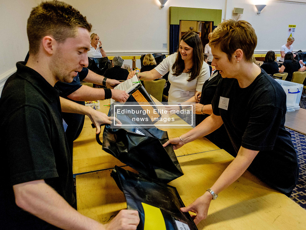 General Election 2017 Dumfries Count :: Boxes arrive and are verified and the count gets underway<br /> <br /> <br /> (c) Andrew Wilson   Edinburgh Elite media