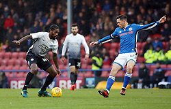 Anthony Grant of Peterborough United takes on Ian Henderson of Rochdale - Mandatory by-line: Joe Dent/JMP - 25/11/2017 - FOOTBALL - Crown Oil Arena - Rochdale, England - Rochdale v Peterborough United - Sky Bet League One