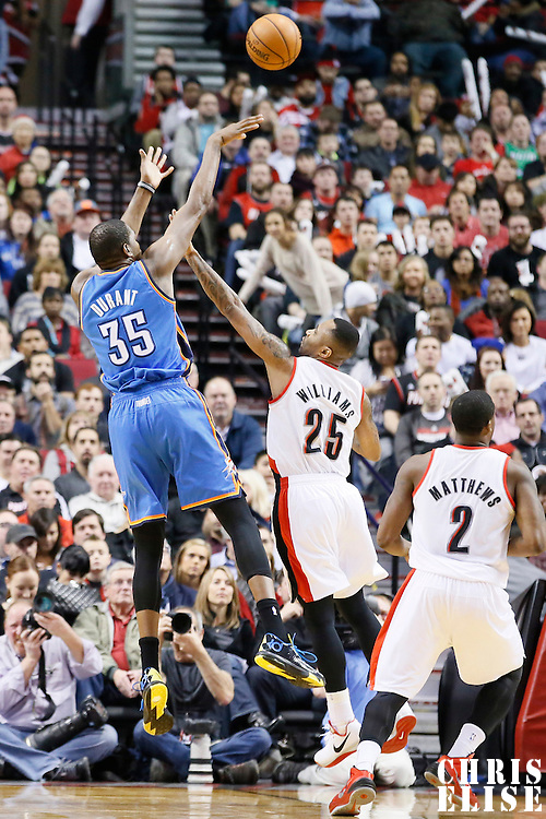 04 December 2013: Oklahoma City Thunder small forward Kevin Durant (35) takes a jumpshot over Portland Trail Blazers point guard Mo Williams (25) during the Portland Trail Blazers 111-104 victory over the Oklahoma City Thunder at the Moda Center, Portland, Oregon, USA.