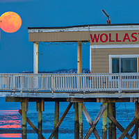 Coastal Massachusetts seascape and Worm full moon photography over the Wollaston Yacht Club located Quincy Shore Drive in Quincy, MA. Originally I made other plans to photograph this full moon rise but changed plans quickly when I realized I would not make it to the location on time. Glad traffic was a disaster that day and forced me to improvise and stop at the Wollaston Yacht Club in Quincy, Massachusetts.<br />