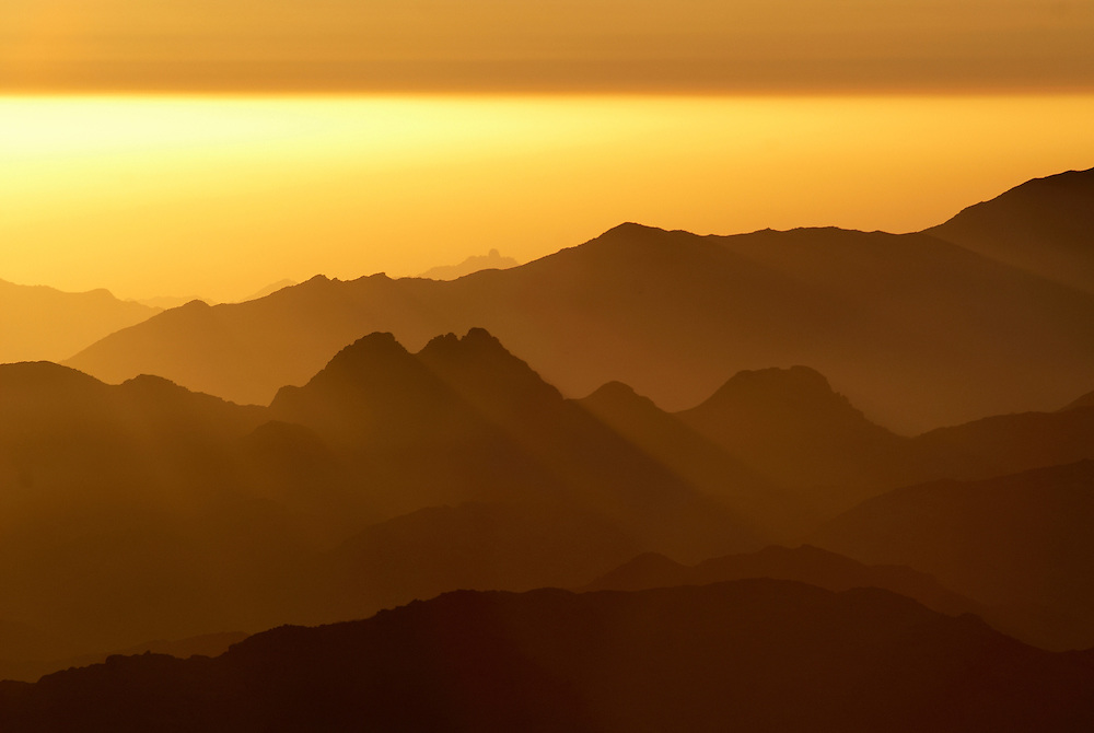 Egypt, Sinai. December/10/2008...Sunrise as seen from the top of Mt.Sinai.