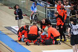 March 2, 2019 - Pruszkow, Poland - Michaela Drummond of New Zealand injured during the Women's Madison the on day four of the UCI Track Cycling World Championships held in the BGZ BNP Paribas Velodrome Arena on March 02 2019 in Pruszkow, Poland. (Credit Image: © Foto Olimpik/NurPhoto via ZUMA Press)