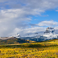 chief mountain with snow and fall colors