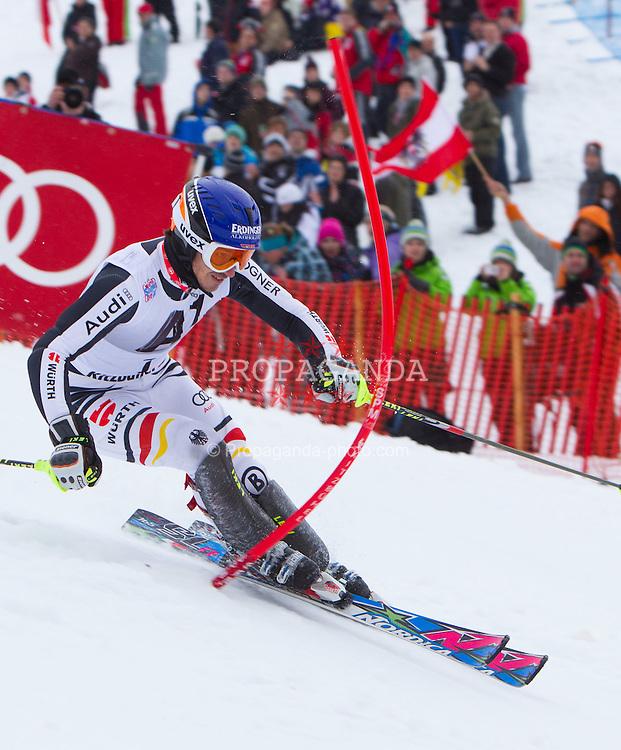 22.01.2012, Ganslernhang, Kitzbuehel, AUT, FIS Weltcup Ski Alpin, 72. Hahnenkammrennen, Herren, Slalom 1. Durchgang, im Bild Felix Neureuther (GER) // Felix Neureuther of Germany during Slalom race 1st run of 72th Hahnenkammrace of FIS Ski Alpine World Cup at 'Ganslernhang' course in Kitzbuhel, Austria on 2012/01/22. EXPA Pictures © 2012, PhotoCredit: EXPA/ Johann Groder