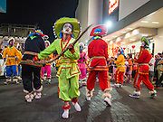 06 FEBRUARY 2014 - HAT YAI, SONGKHLA, THAILAND:  Folk dancers perform for Lunar New Year in Hat Yai. Hat Yai was originally settled by Chinese immigrants and still has a large ethnic Chinese population. Chinese holidays, especially Lunar New Year (Tet) and the Vegetarian Festival are important citywide holidays.     PHOTO BY JACK KURTZ