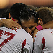 Fabian Espindola, New York Red Bulls, (centre), celebrates with Tim Cahill, (left) and Dax McCarty after scoring his sides first goal during the New York Red Bulls V New England Revolution, Major League Soccer regular season match at Red Bull Arena, Harrison, New Jersey. USA. 5th October 2013. Photo Tim Clayton