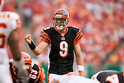 KANSAS CITY, MO - SEPTEMBER 10:  Quarterback Carson Palmer #9 of the Cincinnati Bengals calls a play at the line during a game against the Kansas City Chiefs on September 10, 2006 at Arrowhead Stadium in Kansas City, Missouri.  The Bengals won 23 to 10.  (Photo by Wesley Hitt/Getty Images)***Local Caption***Carson Palmer