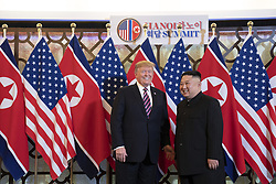 February 27, 2019 - Hanoi, Vietnam - U.S. President DONALD TRUMP and North Korean leader KIM JONG UN greet prior to a bilateral meeting at the Sofitel Legend Metropole hotel in Hanoi, Vietnam. (Credit Image: © Shealah Craighead/The White House via ZUMA Wire)