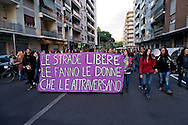 Demostration of women in Prenestino district, against gender violence and against political exploitation of the rape  which occurred a few days ago in Via Teano on May 20, 2016 in Rome, Italy.
