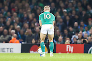 Ian Madigan of Ireland kicks for a penalty during the Rugby World Cup Quarter Final match between Ireland and Argentina at Millennium Stadium, Cardiff, Wales on 18 October 2015. Photo by Shane Healey.