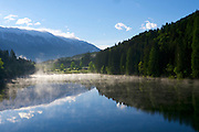 Parkhotel Tristacher See, Tyrol, Austria. Morning mist on the lake.
