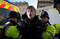 © under license to London News Pictures.  24/11/2010 A man is arrested in Bristol today (Wednesday) as students march through the centre of Bristol. Demonstrations all over the UK are taking place to protest against proposed higher education fees. Credit should read: David Hedges/London News Pictures