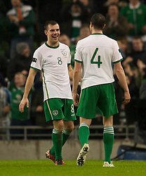 DUBLIN, IRELAND - Tuesday, February 8, 2011: Republic of Ireland's Darron Gibson celebrates scoring the first goal against Wales during the opening Carling Nations Cup match at the Aviva Stadium (Lansdowne Road). (Photo by David Rawcliffe/Propaganda)