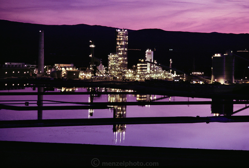 A coal gasification plant at Daggett, California. Coal is distilled at the plant to produce coal gas, a mixture of gases, which may be conveniently used for lighting and heating purposes. (1985).