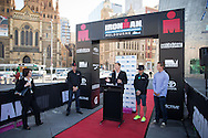 General Coverage, March 19, 2014 - Ironman Triathlon : At the media conference with The Hon. Louise Asher MP (Victorian State Minister for Tourism and Major Events). Media Conference, Federation Square, Melbourne, Victoria, Australia. Credit: Lucas Wroe