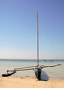Pirogue, traditional fishing sail boat in Anakao. Madagascar