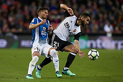 April 8, 2018 - Valencia, Valencia, Spain - Montoya (R) of Valencia CF competes for the ball with Pablo Piatti of RCD Espanyol during the La Liga game between Valencia CF and RCD Espanyol at Mestalla on April 8, 2018 in Valencia, Spain  (Credit Image: © David Aliaga/NurPhoto via ZUMA Press)