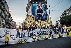November 12, 2016 - Barcelona, Catalonia, Spain - Protestors shout slogans as they march behind their banner through Barcelona to protest the current Catalan education budget of 2.4% GDP and demand a raise to 6% of GDP to comply fully with Catalan Education Law (Credit Image: © Matthias Oesterle via ZUMA Wire)