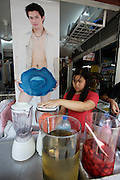 Chatuchak Sunday Market. Fashion boutique and strawberry shake.