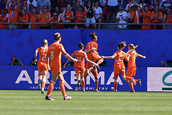 June 30, 2019 - Valenciennes, France - Lieke Martens, Merel Van Dongen, Sherida Spitse, Desiree Van Lunteren, Dominique Blooworth, Stefanie Van Der Gragt of Netherlands Women's National Football team celebrate the first goal during the quarter-final between in ITALY and NETHERLANDS the 2019 women's football World cup at Stade du Hainaut, on the 29 June 2019. (Credit Image: © Julien Mattia/NurPhoto via ZUMA Press)