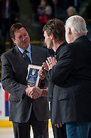 KELOWNA, CANADA - MARCH 5: Steve Tambellini presents Kelowna Rockets' athletic therapist Scott Hoyer with the Larry Ashley award on March 5, 2016 at Prospera Place in Kelowna, British Columbia, Canada.  (Photo by Marissa Baecker/Shoot the Breeze)  *** Local Caption *** Steve Tambellini; Scott Hoyer;