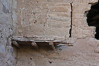 Spruce Tree House.  The floors were supported by large logs.  Mesa Verde National Park.  Colorado, USA