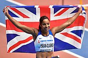 Shelayna Oskan-Clarke (GBR) celebrates after winning the Bronze medal in the Women's 800m Final in a personal best time of 1.59.81 during the final session of the IAAF World Indoor Championships at Arena Birmingham in Birmingham, United Kingdom on Saturday, Mar 2, 2018. (Steve Flynn/Image of Sport)