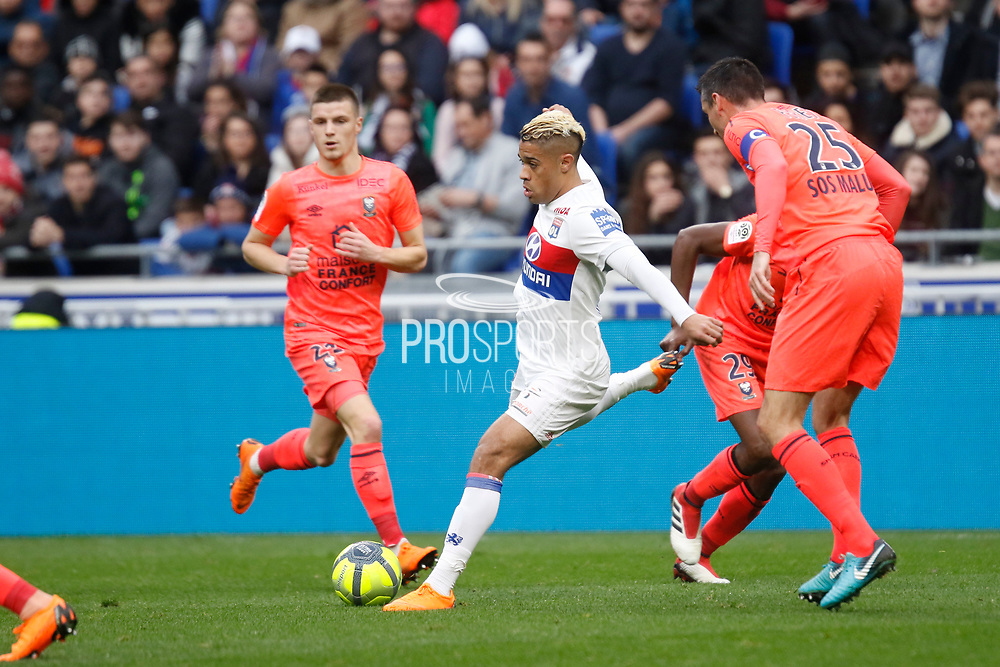 Mariano Diaz of Lyon and Julien Feret of Caen during the French Championship Ligue 1 football match between Olympique Lyonnais and SM Caen on march 11, 2018 at Groupama stadium in Decines-Charpieu near Lyon, France - Photo Romain Biard / Isports / ProSportsImages / DPPI