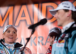Slovenian athlete Petra Majdic and her coach Ivan Hudac celebrate with her home town when she arrived home with small cristal globus at the end of the nordic season 2008/2009, on March 24, 2009, in Dol pri Ljubljani, Slovenia. (Photo by Vid Ponikvar / Sportida)