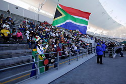 Monday 17th October 2016.<br /> Grand Parade & Greenpoint Athletics Stadium, Cape Town,<br /> Western Cape, South Africa.<br /> <br /> Cape Town Honours South African Olympic And Paralympic Heroes<br /> <br /> The general view as a fan dressed in full South African regalia enjoys the event at Greenpoint Athletics Stadium.<br /> <br /> Cape Town honours the South African Olympic and Paralympic heroes during a special celebratory event held in Cape Town, Western Cape, South Africa on Monday 17 October 2016.<br /> <br /> Picture By: Mark Wessels / Real Time Images.