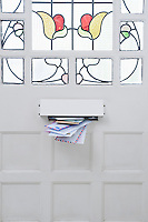 Letterbox and stained glass front door