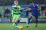 Forest Green Rovers Nathan McGinley(19) runs forward during the EFL Sky Bet League 2 match between Forest Green Rovers and Morecambe at the New Lawn, Forest Green, United Kingdom on 17 November 2018.