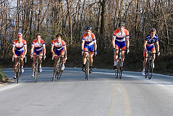 Left to Right:  Virginia Cavaliers Michael Esbach, Virginia Cavaliers Adam Winck, Virginia Cavaliers Stephen DeLisle, Virginia Cavaliers David Morris, Virginia Cavaliers Blake Walker, Virginia Cavaliers U.S. National Collegiate Champion Mark Hardman..Members of the University of Virginia Cycling Team met at Reeds Gap on the Blue Ridge Parkway in Virginia on April 9, 2007 for a team photo shoot.
