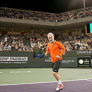 March 7, 2015, Indian Wells, California:<br /> John McEnroe is introduced during the McEnroe Challenge for Charity presented by Masimo in Stadium 2 at the Indian Wells Tennis Garden in Indian Wells, California Saturday, March 7, 2015.<br /> (Photo by Billie Weiss/BNP Paribas Open)