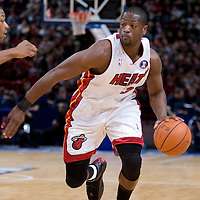 9 October 2008: Dwyane Wade of the Miami Heat dribbles during the New Jersey Nets 100-98 overtime victory over the Miami Heat in an exhibition game at Bercy Arena, in Paris, France.