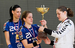 Alja Koren, Alja Jankovic and Neja Soberl of Krim celebrate after the last game of 1st A Slovenian Women Handball League season 2011/12 between ZRK Krka and RK Krim Mercator, on May 8, 2012 in Stopice at Novo mesto, Slovenia. RK Krim Mercator became Slovenian National Champion, GEN-I Zagorje placed second and ZRK Krka placed third. (Photo by Vid Ponikvar / Sportida.com)