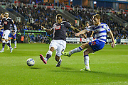 Stephen Quinn gets a shot on target during the Sky Bet Championship match between Reading and Derby County at the Madejski Stadium, Reading, England on 15 September 2015. Photo by David Charbit.