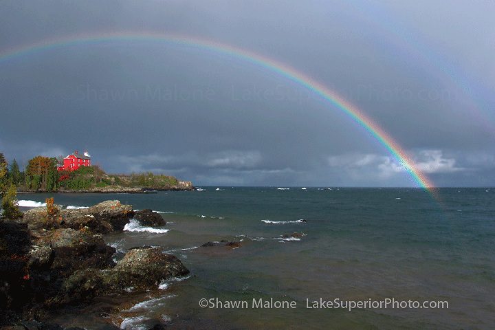 Marquette Lighthouse and rainbow lighthouses in the Upper Peninsula of Michigan