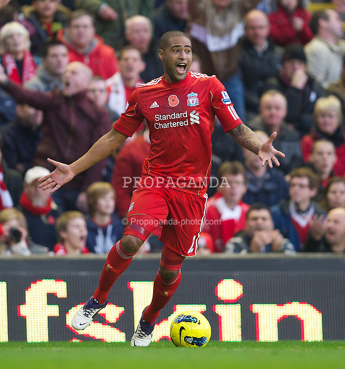 LIVERPOOL, ENGLAND - Saturday, November 5, 2011: Liverpool's Glen Johnson in action against Swansea City during the Premiership match at Anfield. (Pic by David Rawcliffe/Propaganda)