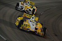 Helio Castroneves, Ryan Hunter-Reay, Iowa Corn Indy 250, Iowa Speedway, Newton, Iowa 06/23/12