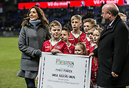 FOOTBALL: H.R.H. Mary, Crown Princess of Denmark receives a donation to the Mary Foundation from DBU-chairman Jesper Møller, before the friendly match between Denmark and Panama at Brøndby Stadium on March 22, 2018 in Brøndby, Copenhagen, Denmark. Photo by: Claus Birch / ClausBirch.dk.
