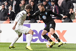 (L-R) Dorukhan Tokoz of Besiktas JK, Arnor Ingvi Traustason of Malmo FF during the UEFA Europa League group I match between between Besiktas AS and Malmo FF at the Besiktas Park on December 13, 2018 in Istanbul, Turkey
